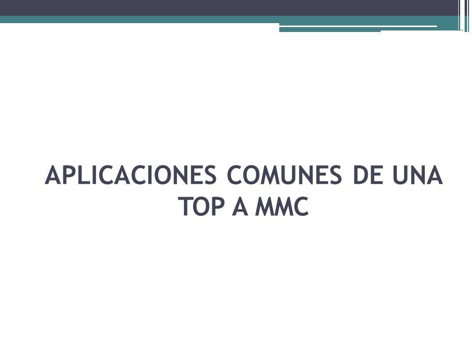 APLICACIONES COMUNES DE UNA TOP A MMC