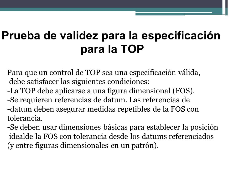 Prueba de validez para la especificación para la TOP