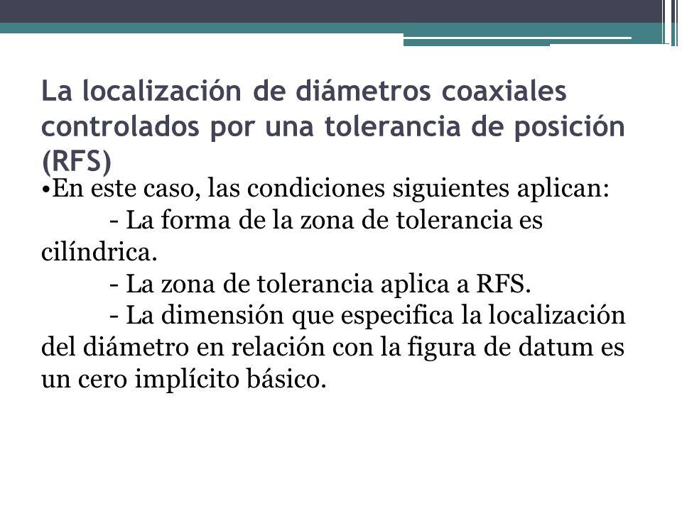 La localización de diámetros coaxiales controlados por una tolerancia de posición (RFS)
