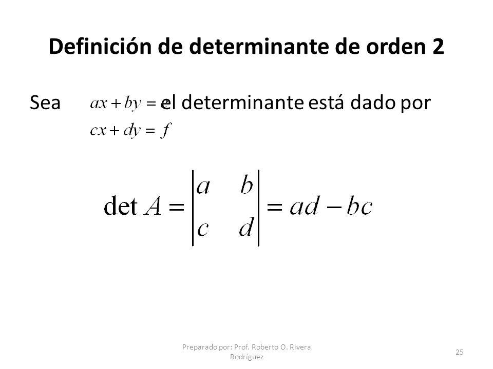 Definición de determinante de orden 2