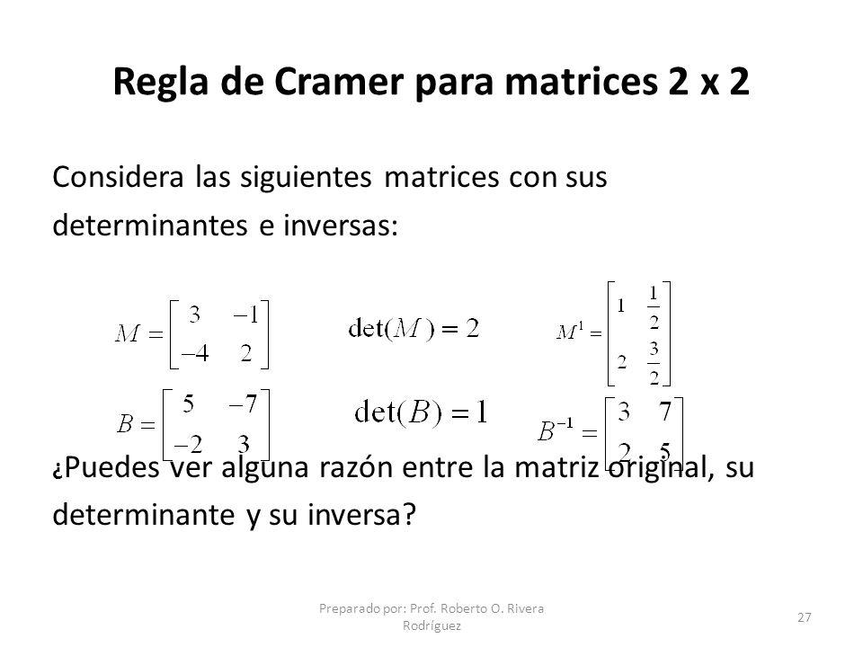 Regla de Cramer para matrices 2 x 2