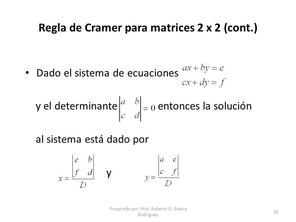 Regla de Cramer para matrices 2 x 2 (cont.)