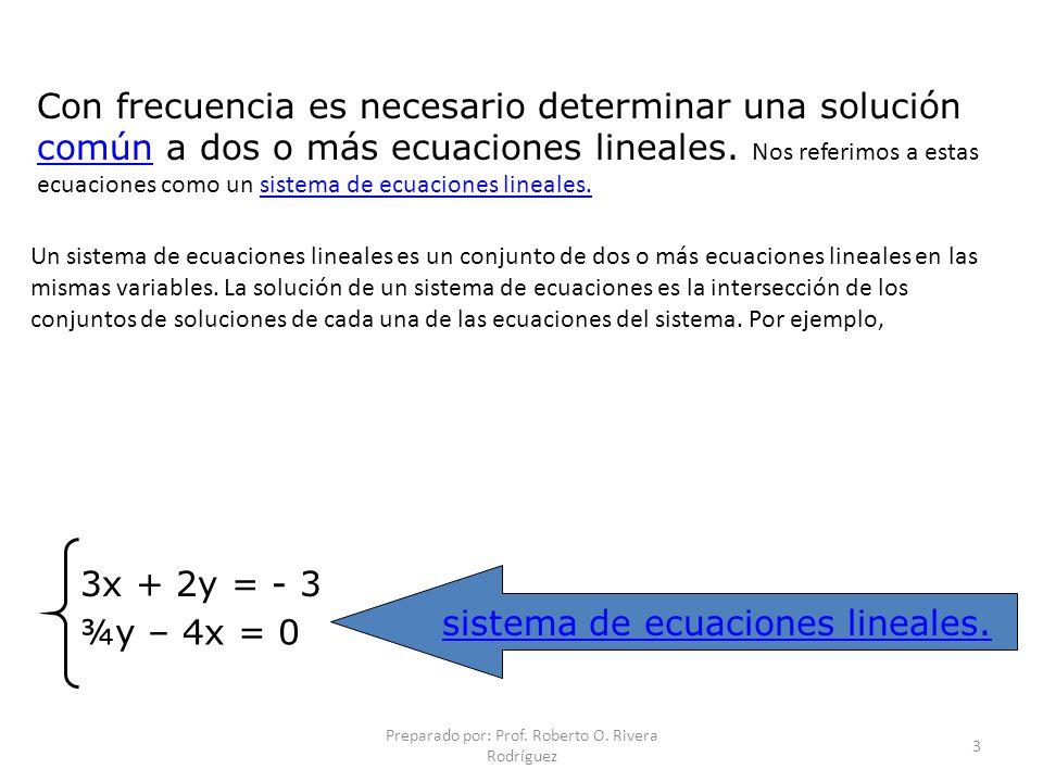 sistema de ecuaciones lineales. ¾y – 4x = 0