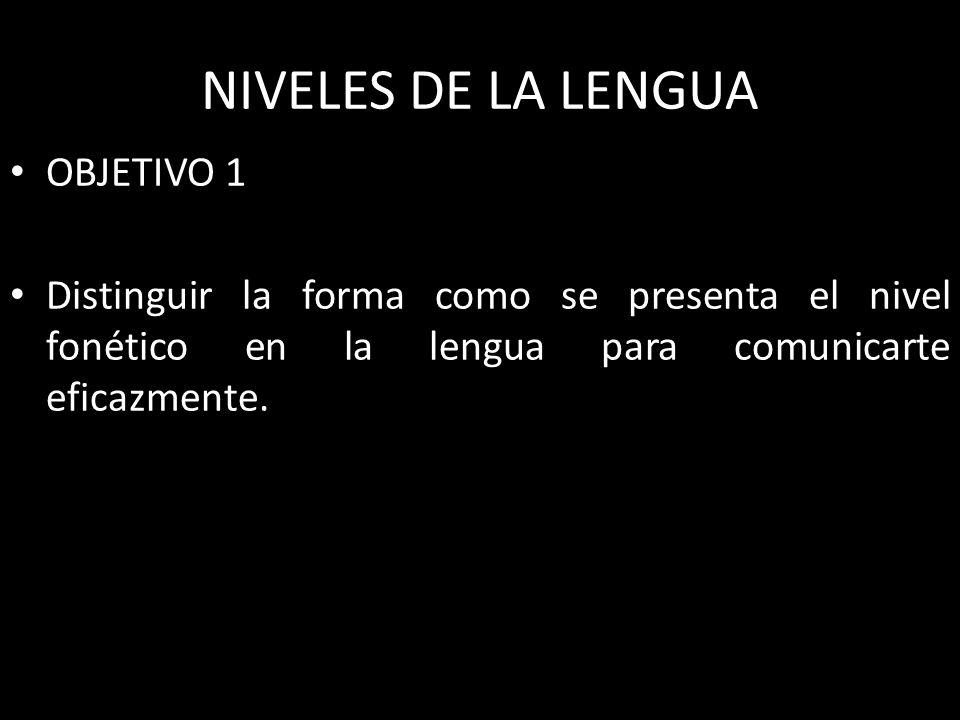 NIVELES DE LA LENGUA OBJETIVO 1