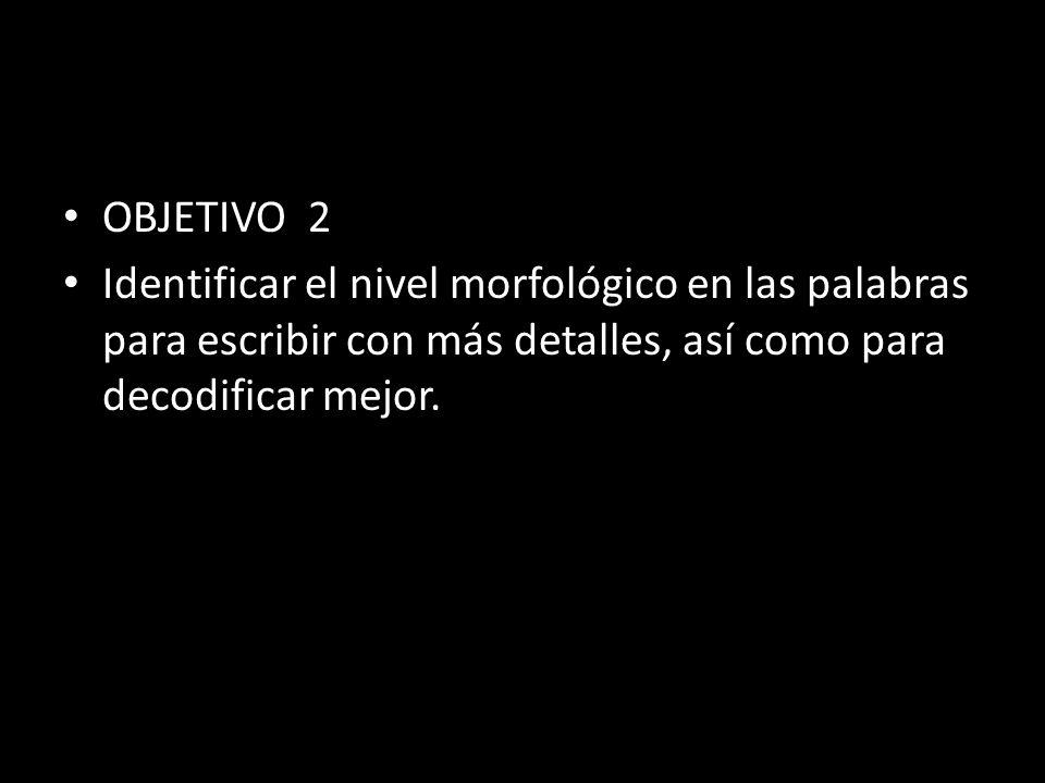 OBJETIVO 2 Identificar el nivel morfológico en las palabras para escribir con más detalles, así como para decodificar mejor.