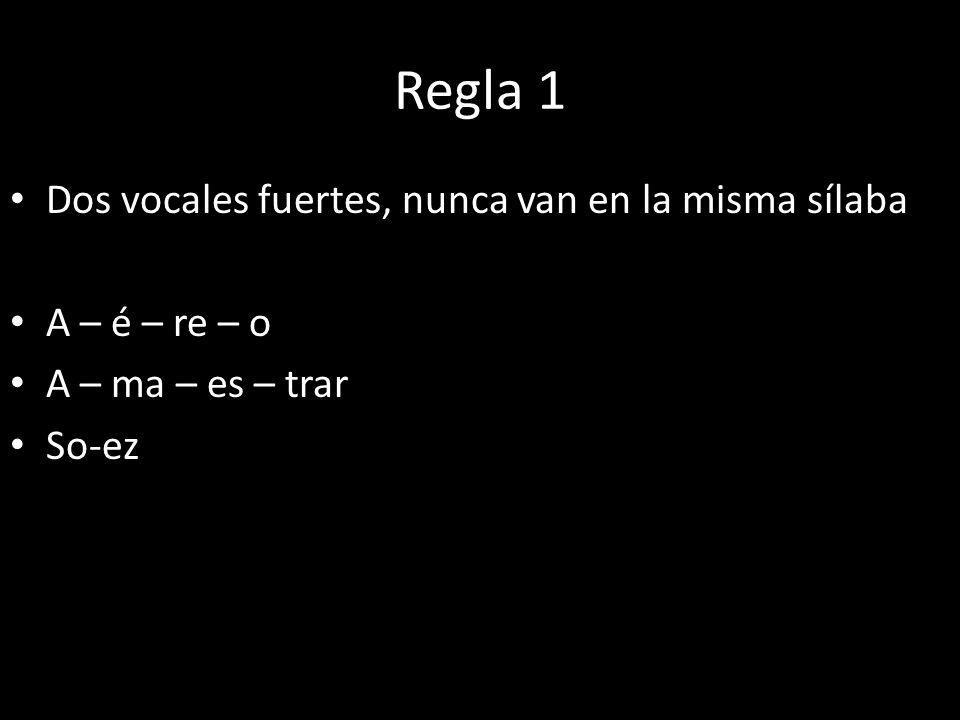 Regla 1 Dos vocales fuertes, nunca van en la misma sílaba