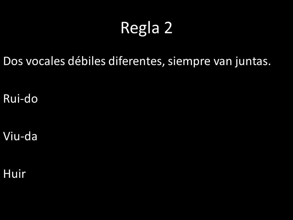 Regla 2 Dos vocales débiles diferentes, siempre van juntas. Rui-do Viu-da Huir