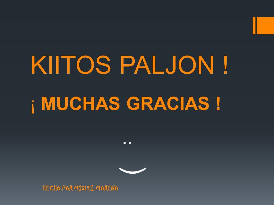 KIITOS PALJON ! ¡ MUCHAS GRACIAS ! : ) HECHO POR MIGUEL MORENO