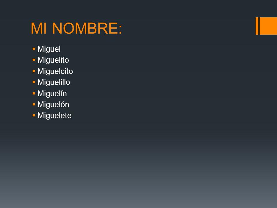 MI NOMBRE: Miguel Miguelito Miguelcito Miguelillo Miguelín Miguelón