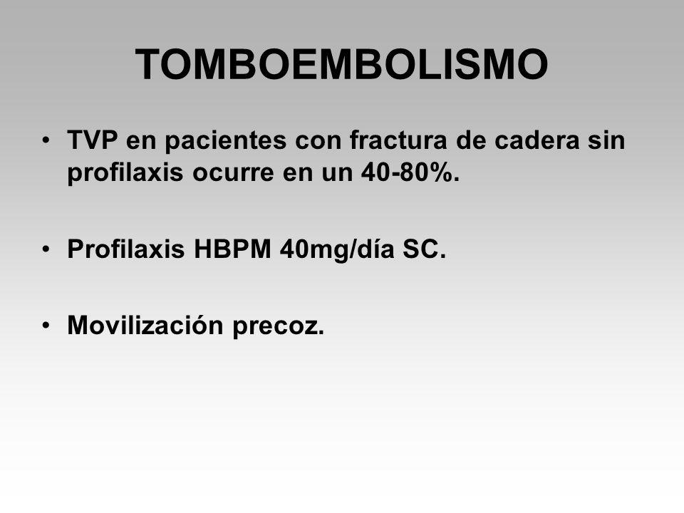 TOMBOEMBOLISMO TVP en pacientes con fractura de cadera sin profilaxis ocurre en un 40-80%. Profilaxis HBPM 40mg/día SC.