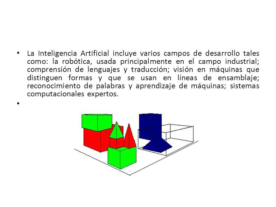 La Inteligencia Artificial incluye varios campos de desarrollo tales como: la robótica, usada principalmente en el campo industrial; comprensión de lenguajes y traducción; visión en máquinas que distinguen formas y que se usan en líneas de ensamblaje; reconocimiento de palabras y aprendizaje de máquinas; sistemas computacionales expertos.