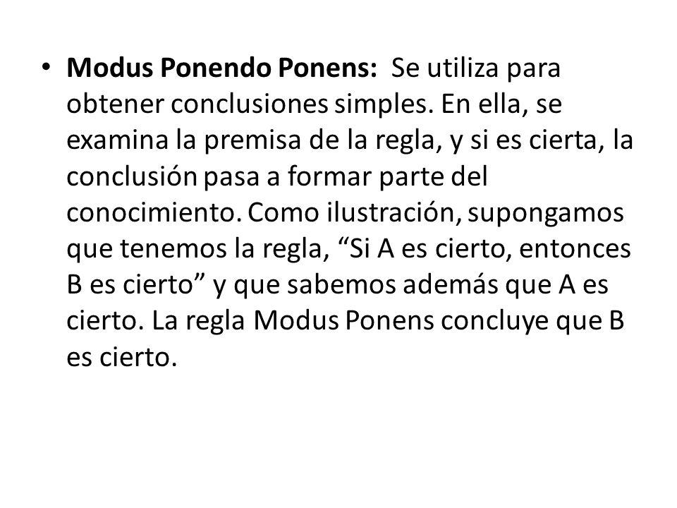 Modus Ponendo Ponens: Se utiliza para obtener conclusiones simples