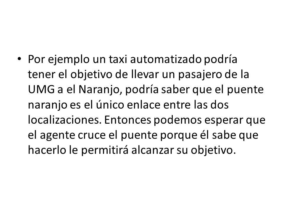 Por ejemplo un taxi automatizado podría tener el objetivo de llevar un pasajero de la UMG a el Naranjo, podría saber que el puente naranjo es el único enlace entre las dos localizaciones.