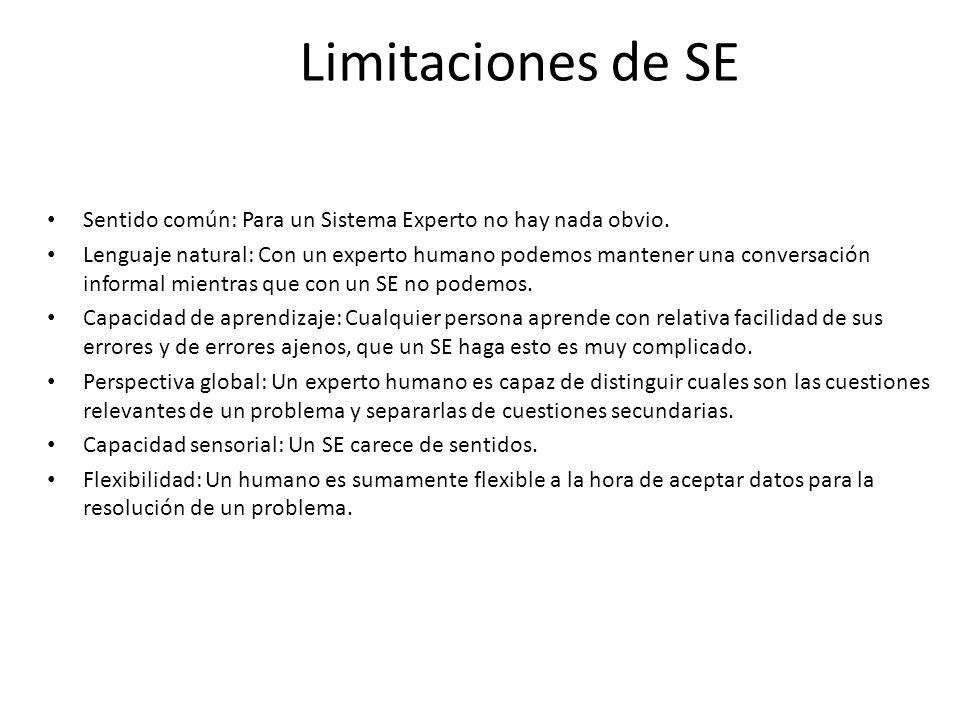 Limitaciones de SE Sentido común: Para un Sistema Experto no hay nada obvio.