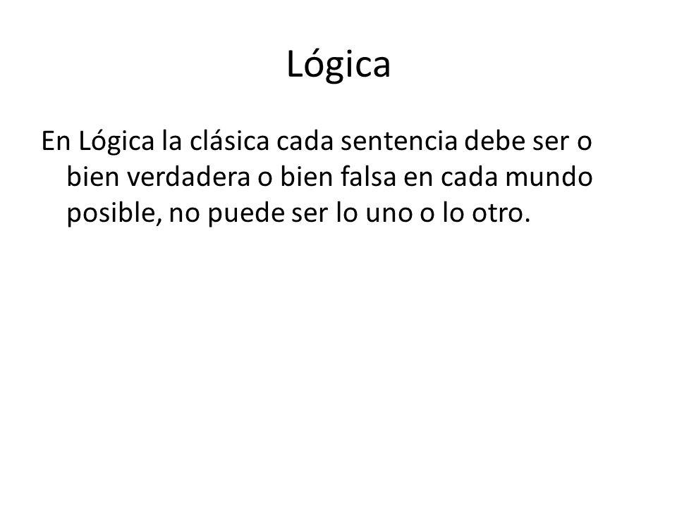 Lógica En Lógica la clásica cada sentencia debe ser o bien verdadera o bien falsa en cada mundo posible, no puede ser lo uno o lo otro.