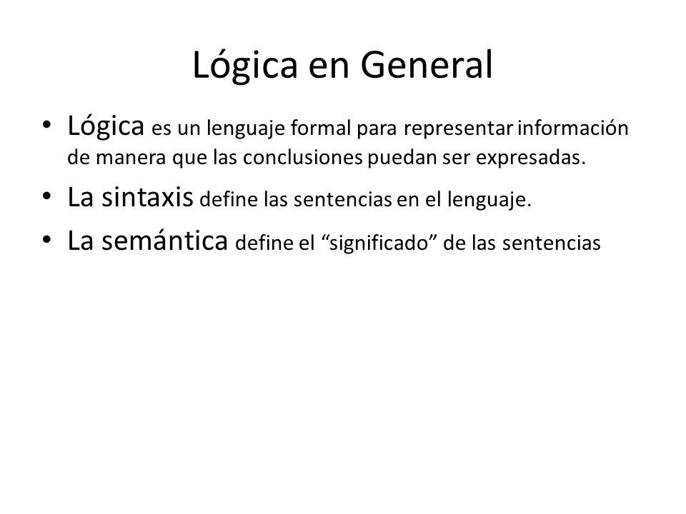 Lógica en General Lógica es un lenguaje formal para representar información de manera que las conclusiones puedan ser expresadas.