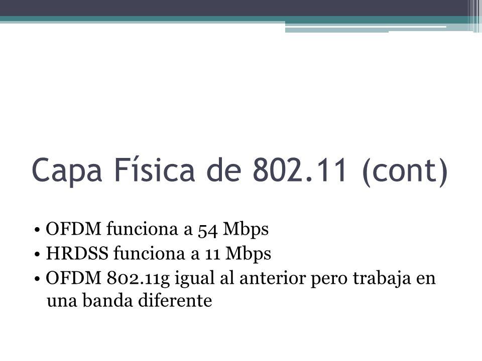 Capa Física de 802.11 (cont)