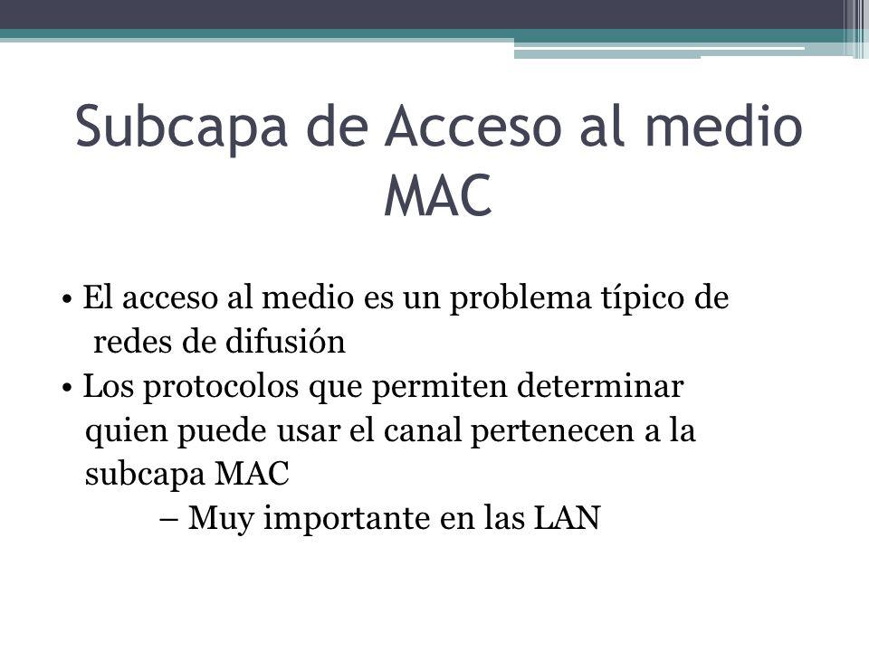Subcapa de Acceso al medio MAC