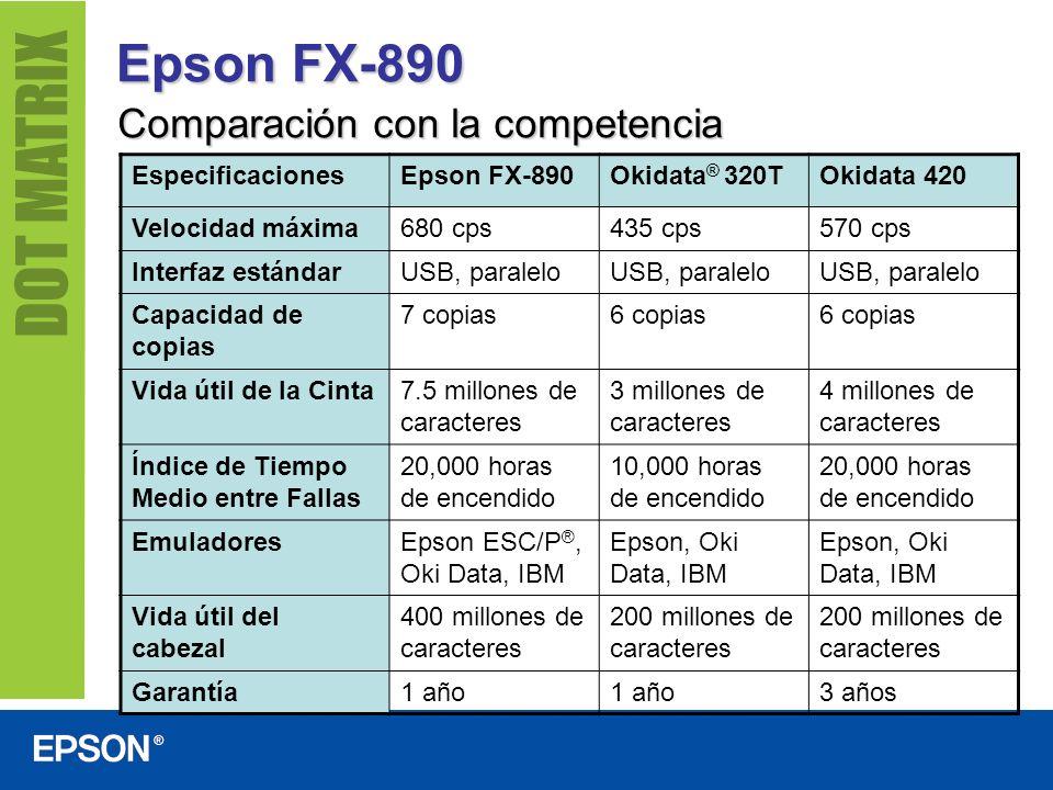 Epson FX-890 Comparación con la competencia Especificaciones