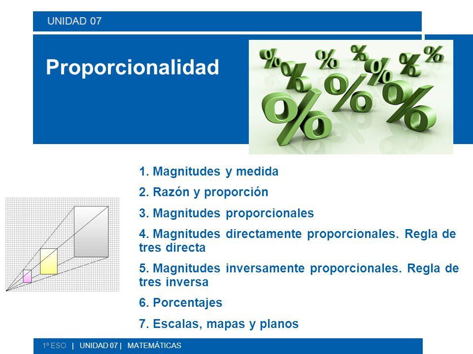 Proporcionalidad 1. Magnitudes y medida 2. Razón y proporción