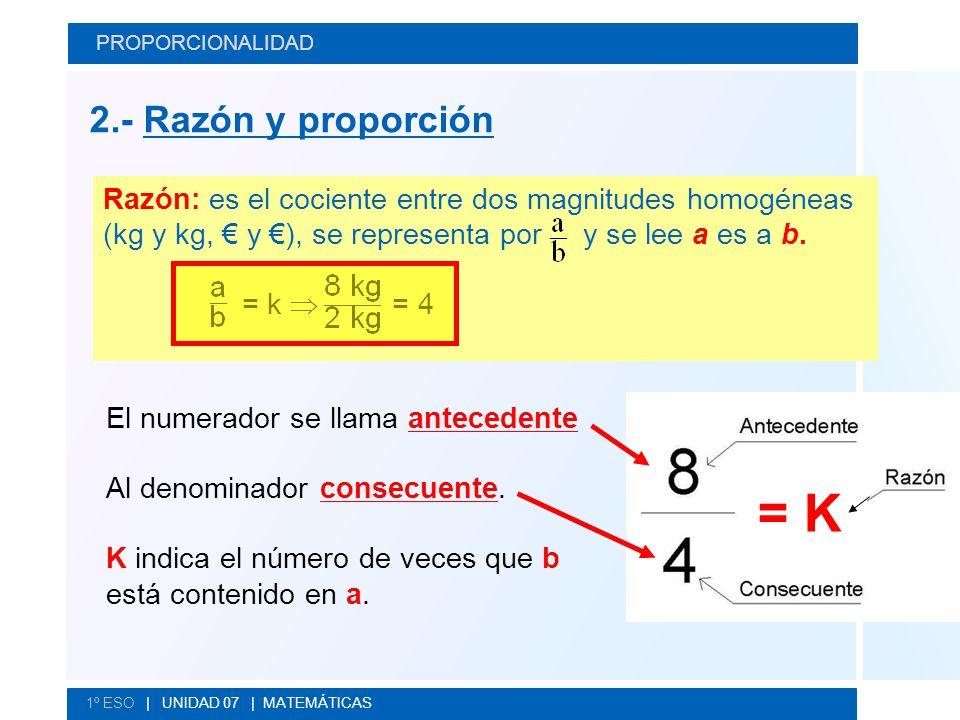 PROPORCIONALIDAD 2.- Razón y proporción.