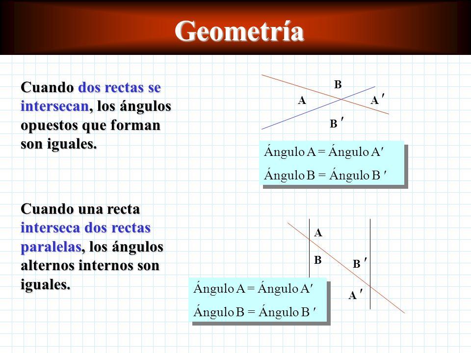 Geometría Cuando dos rectas se intersecan, los ángulos opuestos que forman son iguales. A. A  B 