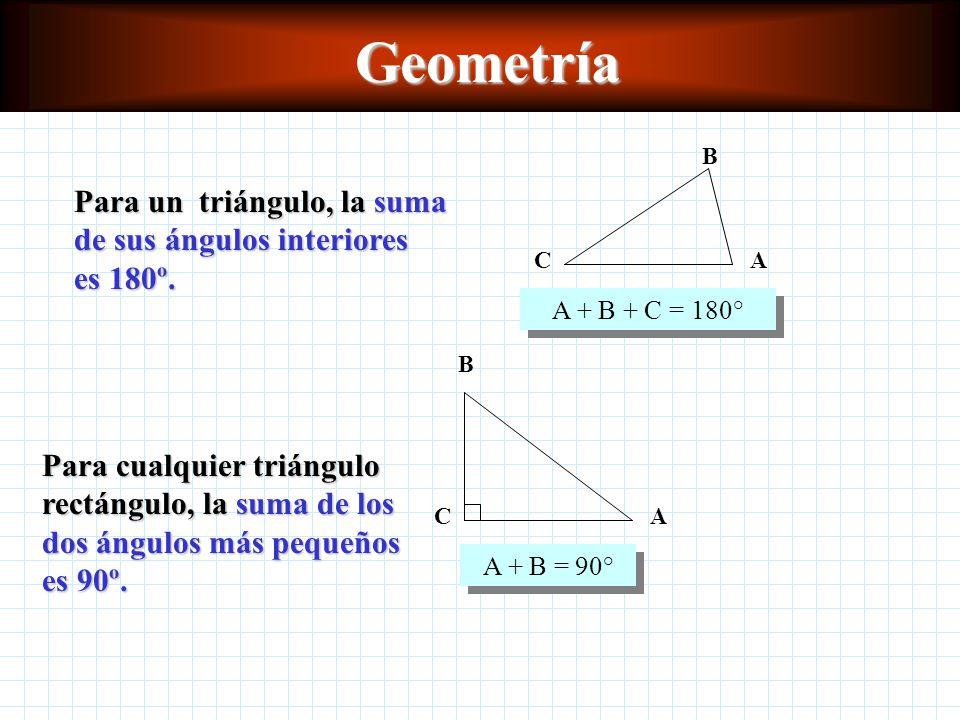 Geometría A + B + C = 180° A. C. B. Para un triángulo, la suma de sus ángulos interiores es 180º.