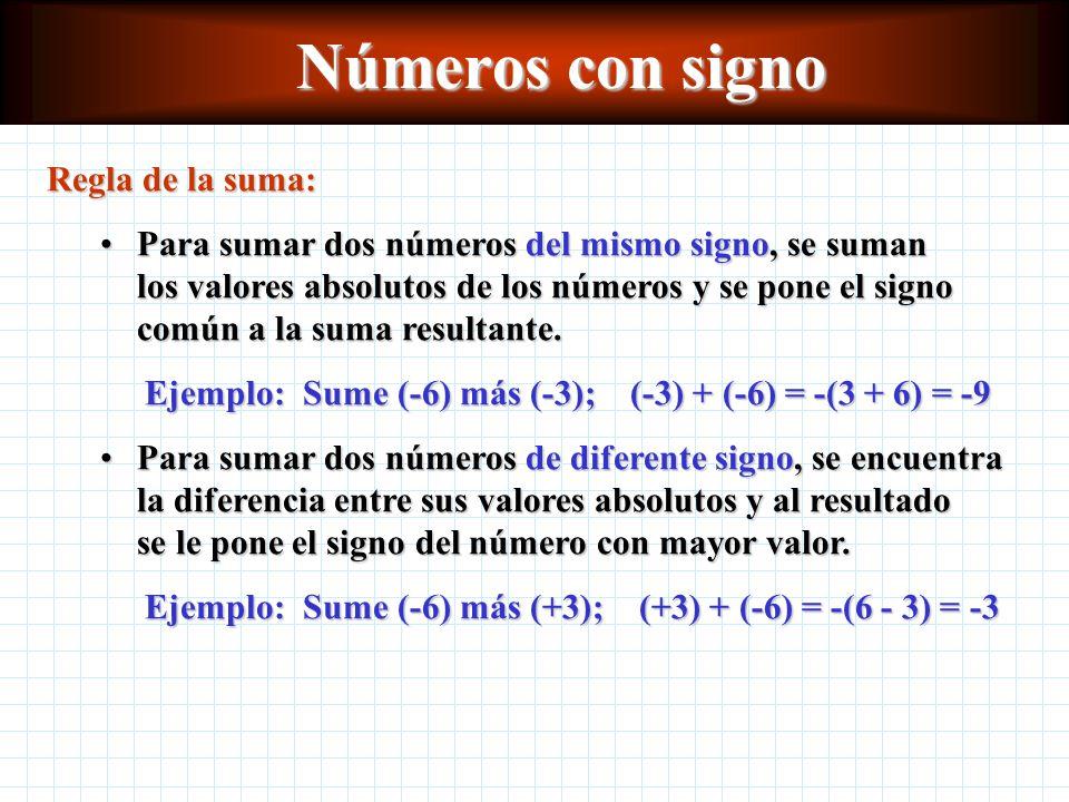 Números con signo Regla de la suma: