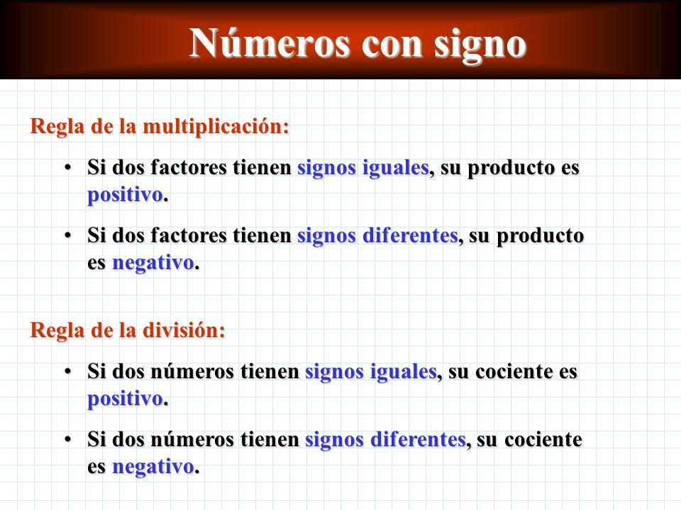 Números con signo Regla de la multiplicación: