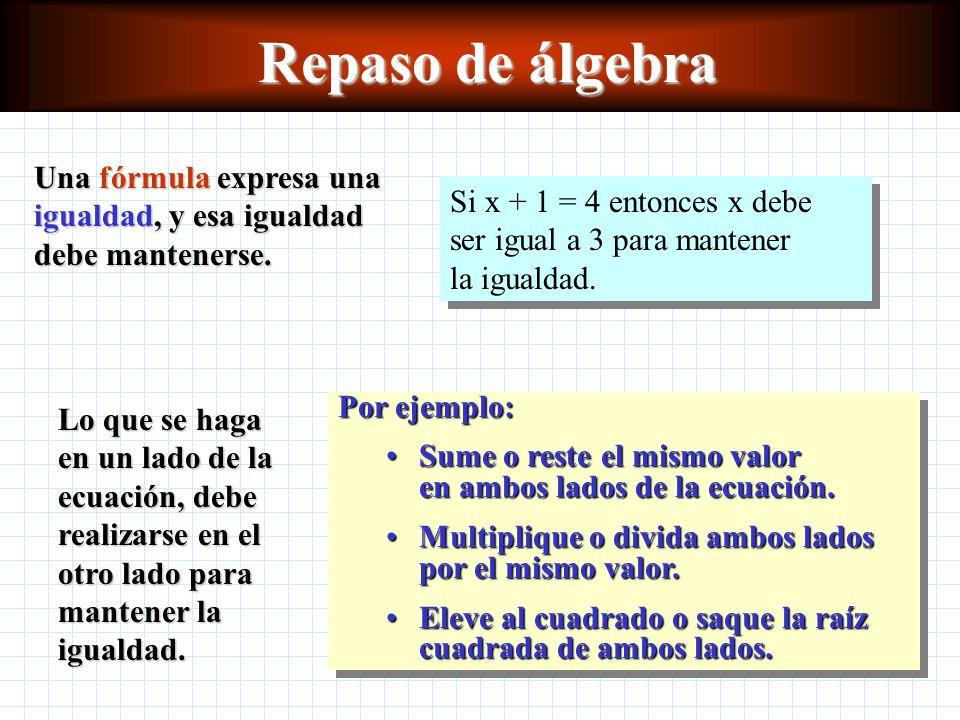 Repaso de álgebra Una fórmula expresa una igualdad, y esa igualdad debe mantenerse.