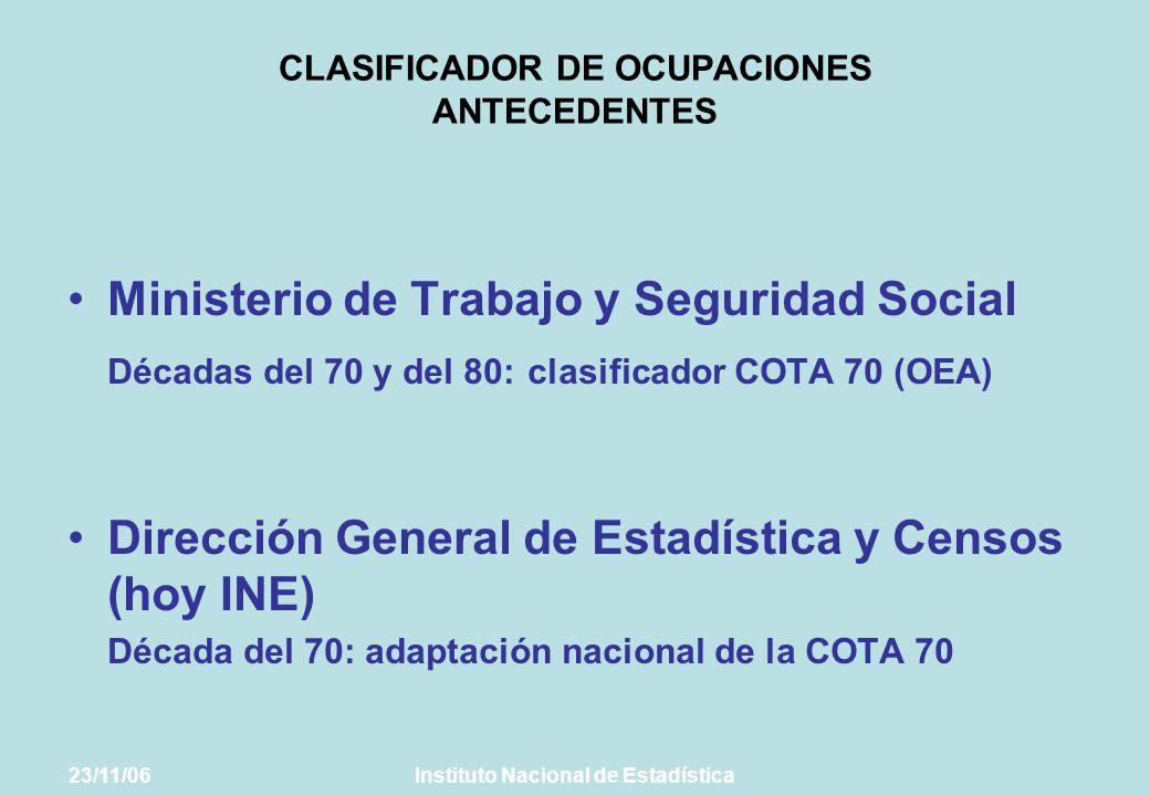 CLASIFICADOR DE OCUPACIONES ANTECEDENTES