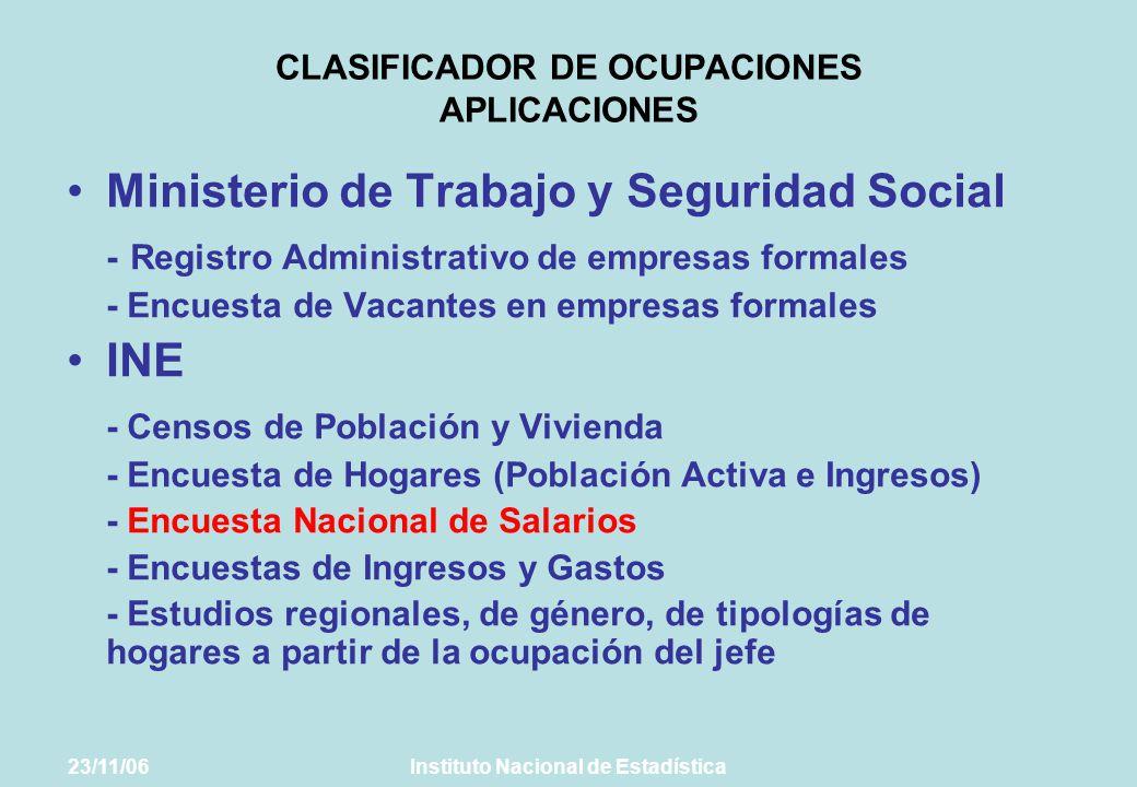 CLASIFICADOR DE OCUPACIONES APLICACIONES