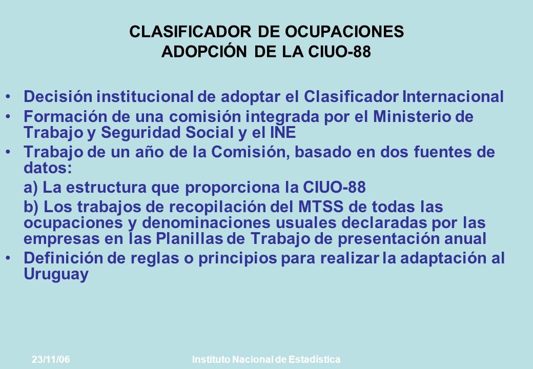 CLASIFICADOR DE OCUPACIONES ADOPCIÓN DE LA CIUO-88