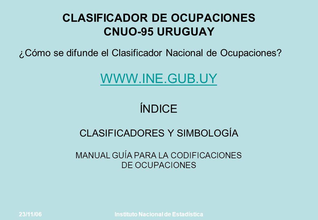 CLASIFICADOR DE OCUPACIONES CNUO-95 URUGUAY