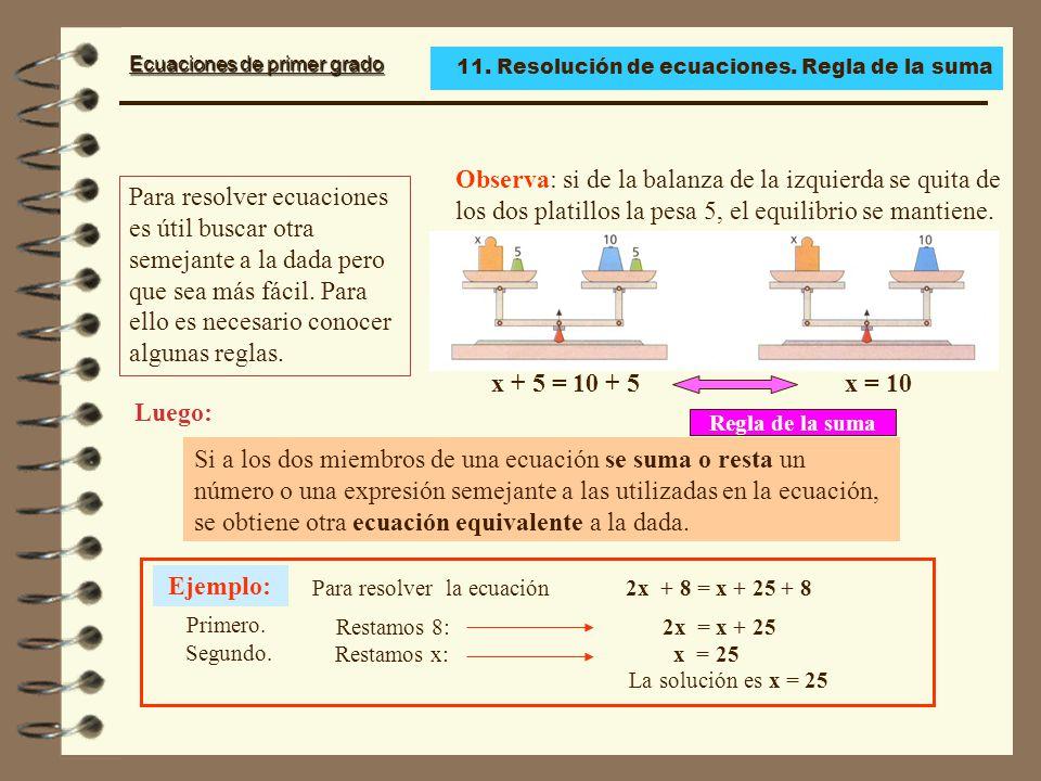 11. Resolución de ecuaciones. Regla de la suma