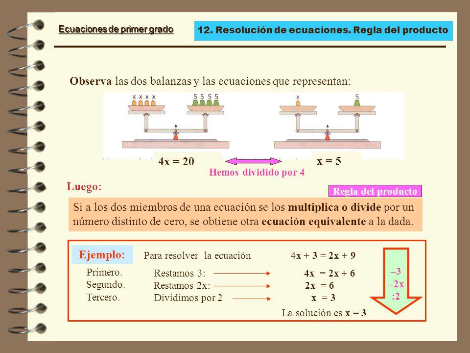 Observa las dos balanzas y las ecuaciones que representan: