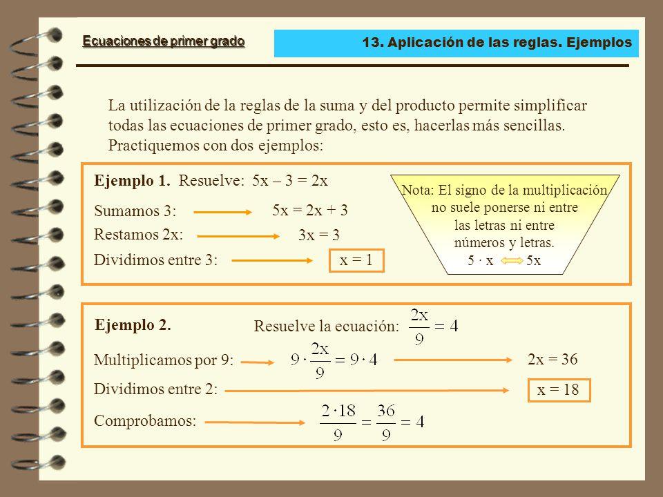 Ejemplo 1. Resuelve: 5x – 3 = 2x