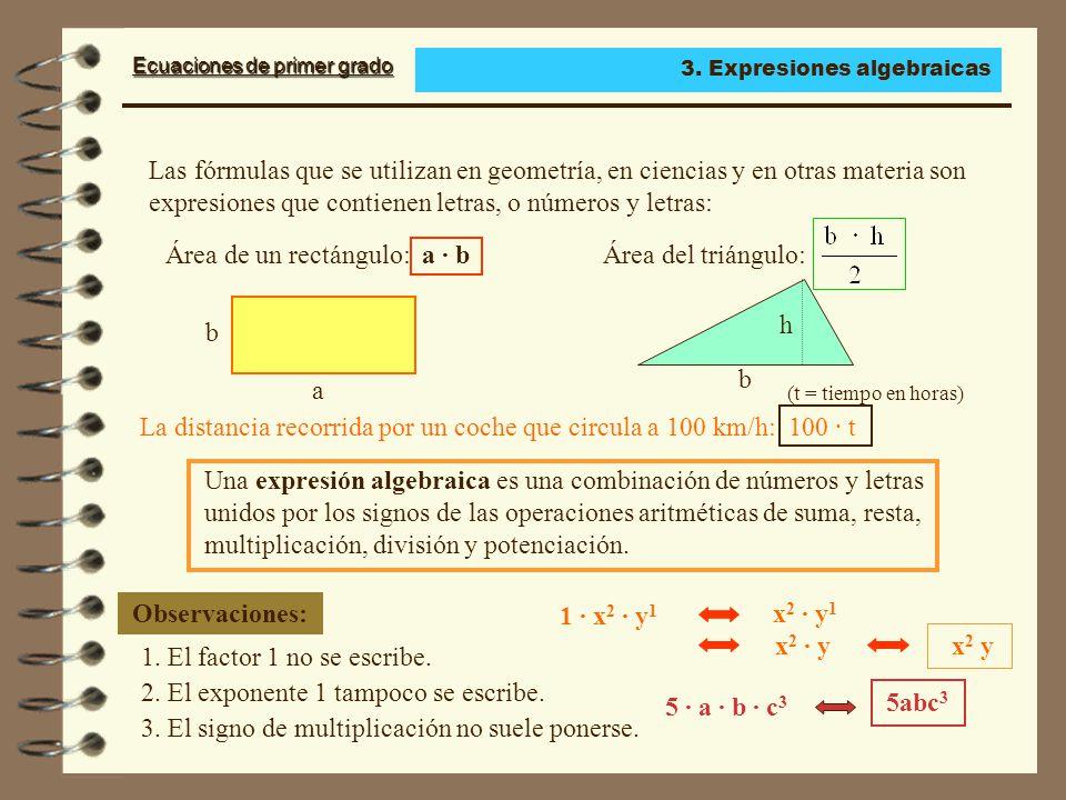 Área de un rectángulo: a · b