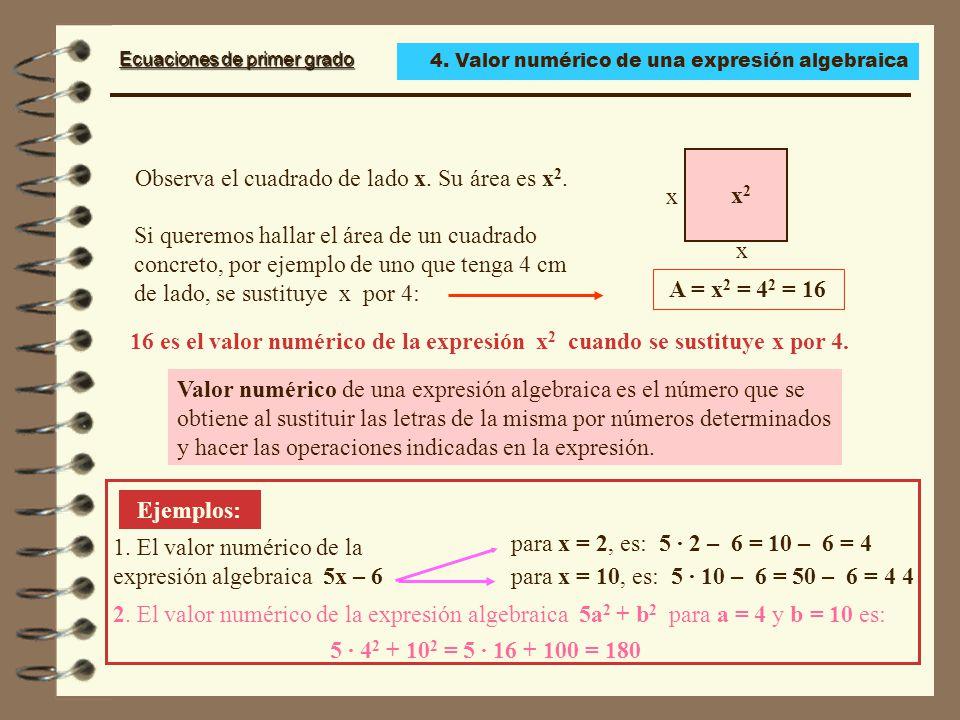 Observa el cuadrado de lado x. Su área es x2. x2