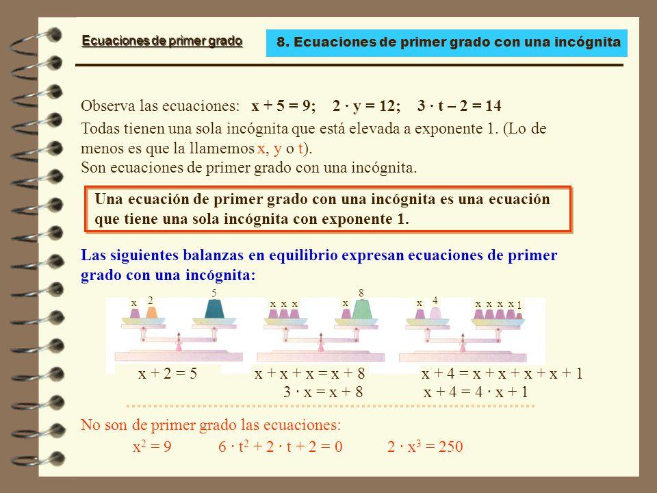 Observa las ecuaciones: x + 5 = 9; 2 · y = 12; 3 · t – 2 = 14