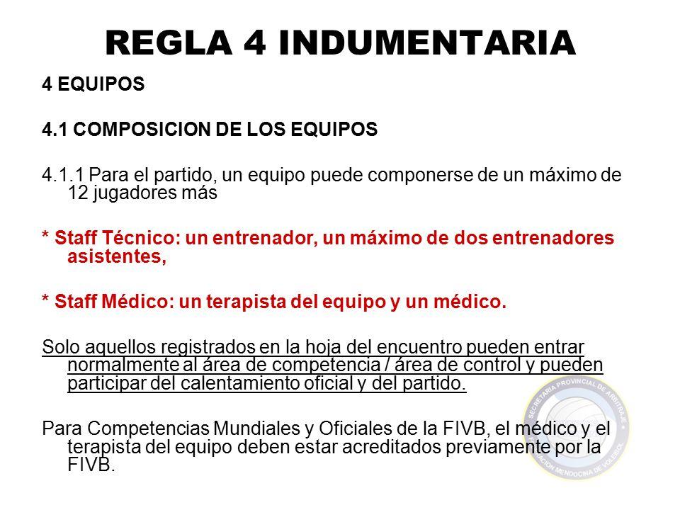 REGLA 4 INDUMENTARIA 4 EQUIPOS 4.1 COMPOSICION DE LOS EQUIPOS