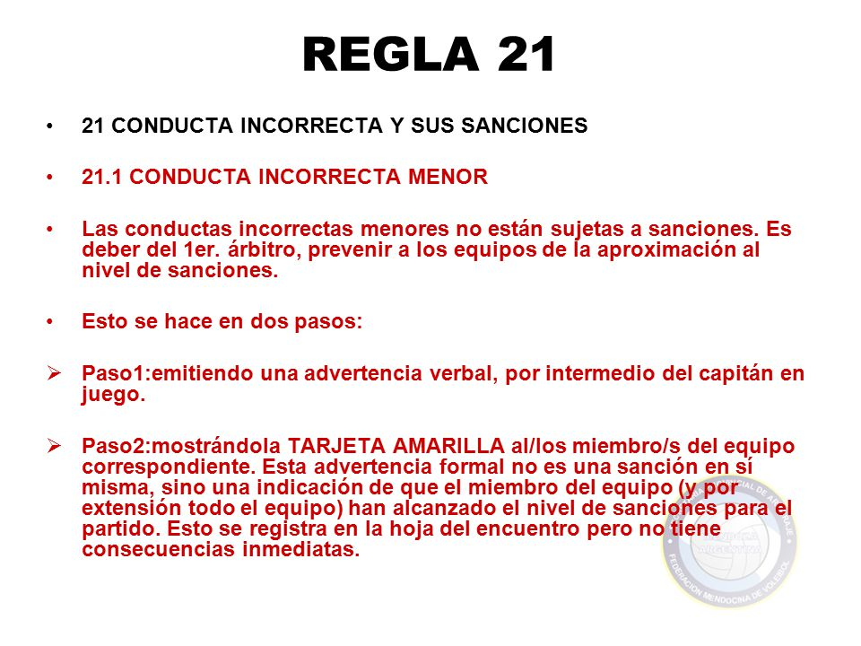 REGLA 21 21 CONDUCTA INCORRECTA Y SUS SANCIONES