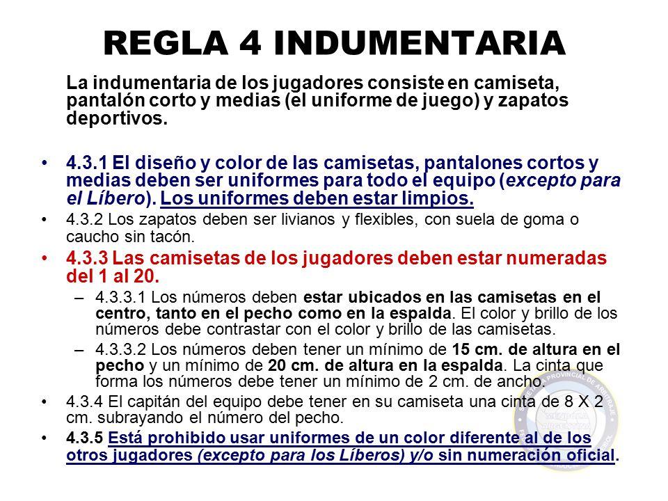 REGLA 4 INDUMENTARIA La indumentaria de los jugadores consiste en camiseta, pantalón corto y medias (el uniforme de juego) y zapatos deportivos.