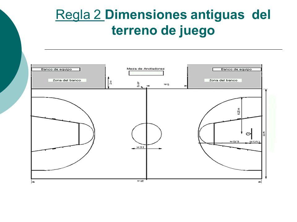 Regla 2 Dimensiones antiguas del terreno de juego
