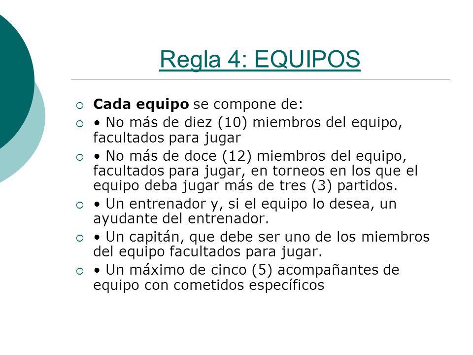 Regla 4: EQUIPOS Cada equipo se compone de: