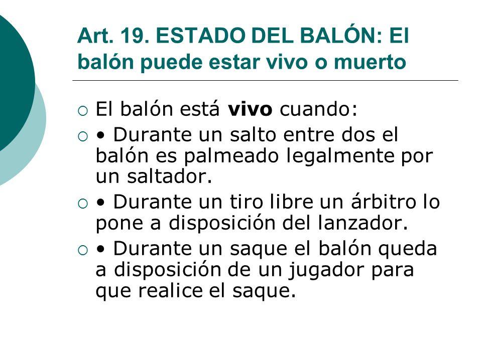 Art. 19. ESTADO DEL BALÓN: El balón puede estar vivo o muerto