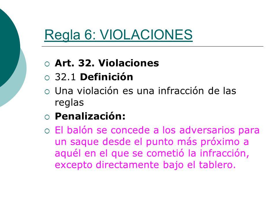 Regla 6: VIOLACIONES Art. 32. Violaciones 32.1 Definición