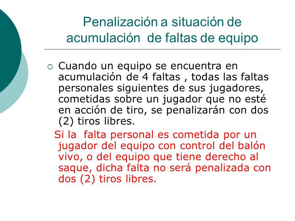 Penalización a situación de acumulación de faltas de equipo