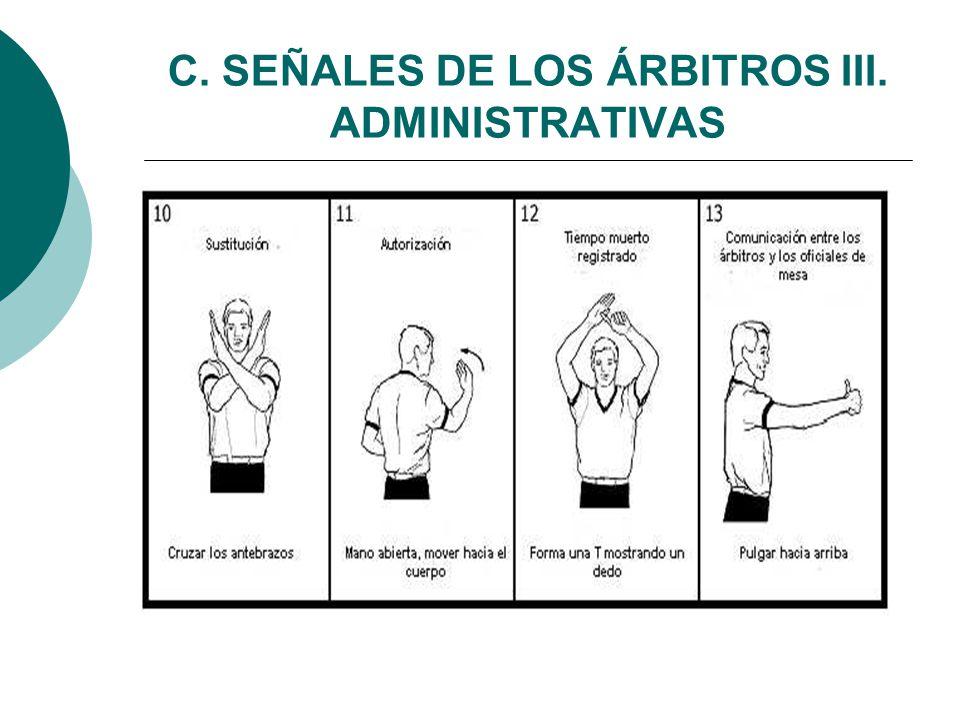 C. SEÑALES DE LOS ÁRBITROS III. ADMINISTRATIVAS