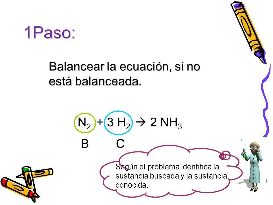 Balancear la ecuación, si no está balanceada.